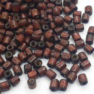 500 Mini Holzperlen 3,5x3 mm Oval Braun Natur Spacer Holz Schmuck Basteln H27
