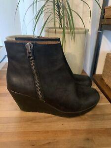 Women's Kurt Geiger London Wedges Black Leather Heel Shoes Size EU 38