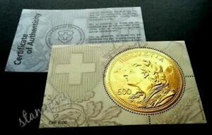 [SJ] Switzerland Gold Coin 2013 (gold foil ms) MNH *embossed *certificate