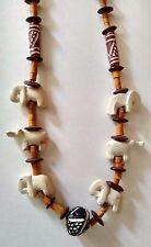 """Elephants Rhinos African Safari 16"""" Wooden Jungle Necklace Carved Stone"""