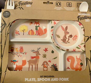 Bamboo toddler baby Dinner Tray & Cutlery Kids Lunch Eating Set Woodland Friends