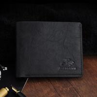 NEW Mens Designer PU Leather Bifold Wallet Credit Card Holder Purse Black/Coffee