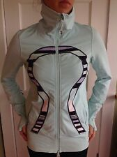 LULULEMON SIZE 12 IN STRIDE JACKET DISCOVERY STRIPE AQUA BLUE DEFINE STUDIO