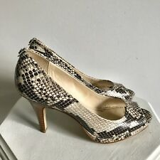 47885f3ffb65 Calvin Klein Shoes 6 Kail Classic Snake Print Natural Heels Pumps Peeptoe