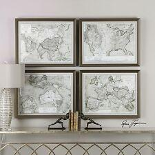 LARGE SET OF FOUR BEAUTIFUL RICH WORLD MAP PRINTS WALL ART MODERN BRONZE FRAME