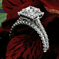 F SI1 Princess Cut Diamond Engagement Halo Ring Set 2.82 CT 14K White Gold