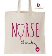 PERSONALISED Nurse Gift Cotton Tote Bag- Any Name
