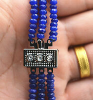 New NATURAL 3 Rows 2X4mm FACETED DARK Blue Sapphire BEADS NECKLACE AAA
