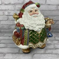 Fitz & Floyd Christmas Holiday Santa Claus Cookie Jar Saint Nick St. Nick 2003