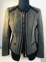 White House & Black Market Ladies Jacket Women's Size 6 Black Tan Business Coat