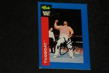 TUGBOAT 1991 CLASSIC WWF WRESTLING SIGNED AUTOGRAPHED CARD #120