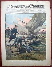 74) 1910 BIPLANO MILITARE CADE A CETOCELLE DI ROMA. DOMENICA DEL CORRIERE