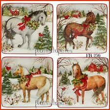 Vintage Christmas Home for the Holidays Horses Farm 4 Prints on Fabric FB 256