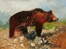 California Grizzly Brown Bear Wildlife Animal ORIGINAL OIL PAINTING Andre Dluhos