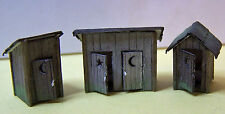 THREE OUTHOUSES S Sn3 Model Railroad Structure Unpainted Wood Laser Kit RSL5010