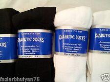 12 pair of Men's Diabetic crew socks 13-15 size  6 PAIR WHITE AND 6 PAIR BLACK