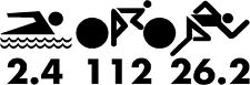 2.4-112-26.2 Triathlon Swim Cycling Run Decal Sticker