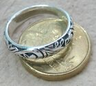 SOLID 925 STERLING SILVER Plain OXIDISED FILIGREE Curved BAND SIZE J L N P Q T