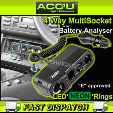 RING RMS4 12 V auto 4 Way Accendisigari Multi Prese Adattatore di Alimentazione & Analizzatore
