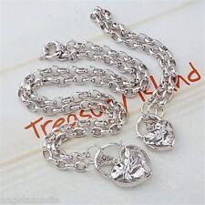18K White Gold Filled Filigree Heart Oval Belcher Necklace/Bracelet Set (S-132)