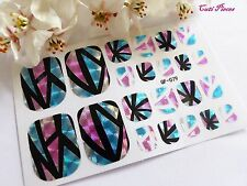 Nail Art Self Adhesive Full Toe Polish Wrap Sticker Shattered Stained Glass T1