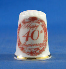 Birchcroft China Thimble -- 40th Ruby Anniversary  -- Free Dome Box