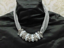 collana donna tessuto lurex argento girocollo collier cristalli vistosa