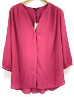 NYDJ Womens Pink Flowy 3/4 Sleeve Covered Button Blouse Top Plus Size 1X NWT