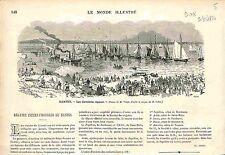 Régatte Internationale Regatta Nantes France GRAVURE ANTIQUE PRINT 1874