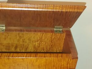 """Hand Made Tiger Maple Dovetailed Wood Urn Box inside dimension 8""""w x 11""""l x 8""""h"""