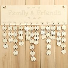 Wooden Family Birthday Reminder Plaque Sign Board Calendar Tag Christmas Gift UK
