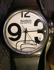 Men's SWATCH NO NAME Black White Giant Numbers Early Retro Watch 1983 GB103 Runs