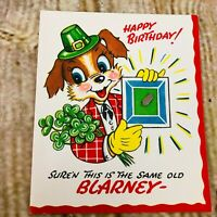 vtg Happy Birthday Greeting card Irish Blarney stone puppy w rock used 40's