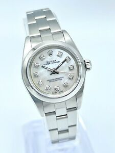 Ladies Rolex Oyster Perpetual 76080 24mm MOP White Diamond Oyster Box & Papers