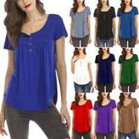 Womens Summer Tunic Tops Ladies Short Sleeve Plain T-Shirt Blouse Plus Size 8-24