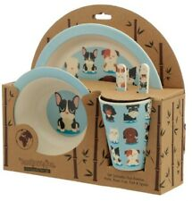Bamboo Composite Kids Toddler Dinner Set Gift Plate, Bowl, Cup, Cutlery