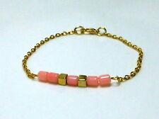 Koralle Bambuskoralle Armband Armschmuck Pink Coral & Cubes vergoldet