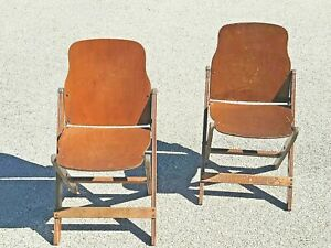 1940s Vintage Us Army Issued Wwii Folding Chairs- Set of 2
