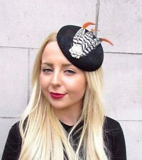Black Orange White Pheasant Feather Fascinator Headpiece Hat Vintage Ascot Y54