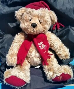 "Vintage Harrod's Knightsbridge Teddy Bear 10"" Christmas Red Scarf"