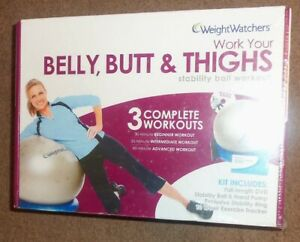 Weight Watchers Belly, Butt & Thigh 3 Complete Workout DVD w/ Exercise Ball NEW