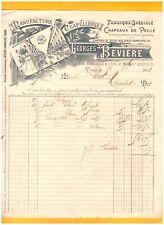 """TOURS (37) USINE CHAPELLERIE / CHAPEAUX & CASQUETTES """"Georges BEVIERE"""" en 1901"""