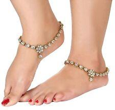 Bollywood Indian Bridal Women Wear Gold Tone Kundan CZ Anklet  Payal Jewellery