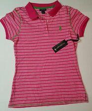 7.7.16) NWT NEW US Polo Assn. Sz medium top polo shirt pink white stripes green