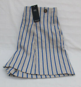 LADIES MARKS AND SPENCER NATURAL AND BLUE STRIPED LINEN BLEND SHORTS SIZE 16