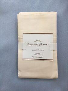 Pottery Barn pb essentials ~ Standard Pillowcases ~ 300 Thread ~ S/2~ Ivory ~NWT
