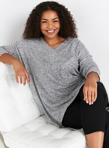 Evans Womens Grey Soft Touch V Neck Top Long Sleeve Shirt Blouse Regular Fit