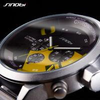 Herrenuhr Edelstahl Sport Chronograph Armbanduhren Schwarz Armband Uhr Geschenk