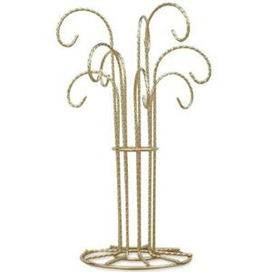 9 Arm Gold Tone Twisted Brass Metal 9 Ornaments Stand 12 Inches