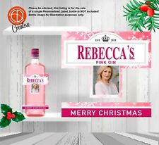 Personalised CHRISTMAS Pink Gin Photo Bottle Label - Make your gift UNIQUE!